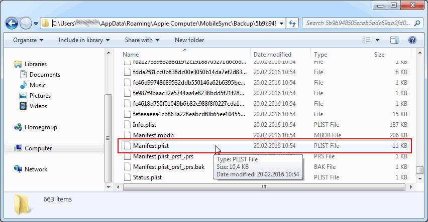 Расположение файла manifest.plist на компьютере