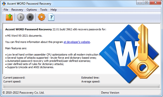 Accent WORD Password Recovery от Пасковери для Word 6-2019